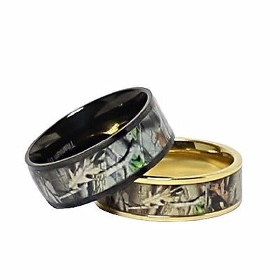 Custom Engraved Camo Wedding Ring Set For Him And Her