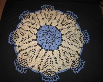 Crochet blanket beige blue