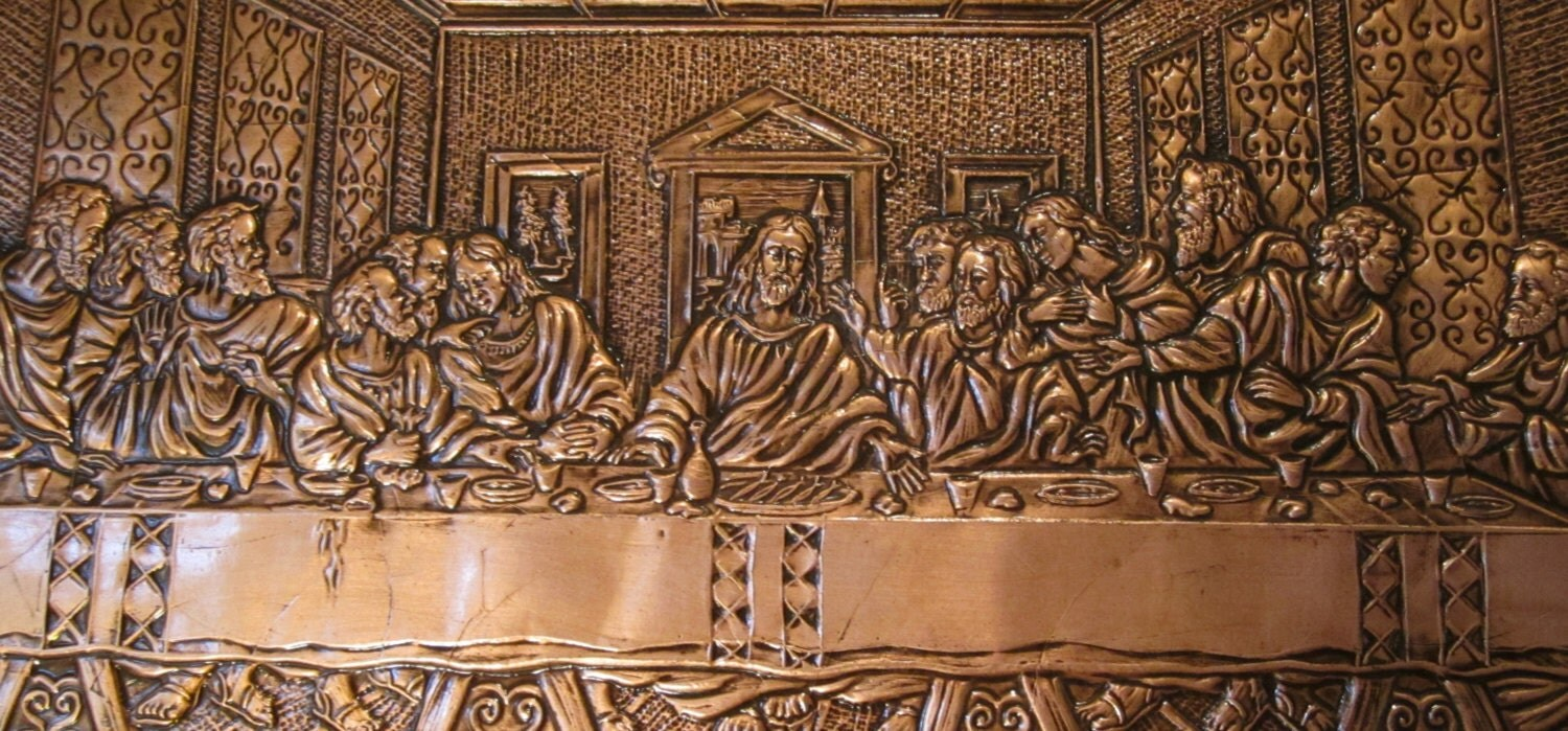 copper wall art the last supper by exclusivities4u on etsy. Black Bedroom Furniture Sets. Home Design Ideas