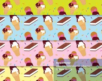 Ice Cream Cone Digital Paper Pattern Icecream Sandwich Sprinkles Chocolate Strawberry Vanilla Illustration - Instant Download