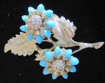 Rare Vintage HAR Turquoise Rhinestone Brooch