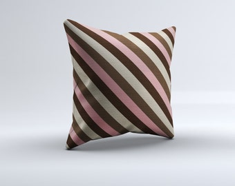 pink and brown throw pillow, modern throw pillow, striped pillow, decorative throw pillow, 16x16, 18x18, 20x20,14x14 modern throw pillow