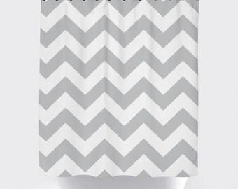 gray chevron shower curtain, modern shower curtain, fabric shower curtain, gray and white, chevron shower curtain, waterproof