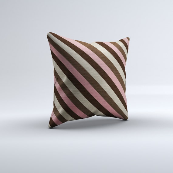 pink and brown throw pillow modern throw pillow striped. Black Bedroom Furniture Sets. Home Design Ideas