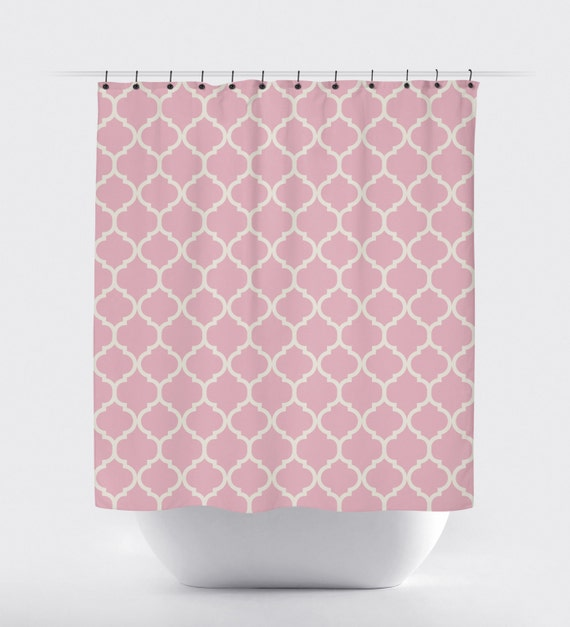 Pink Quatrefoil Shower Curtain Modern Shower Curtain Fabric