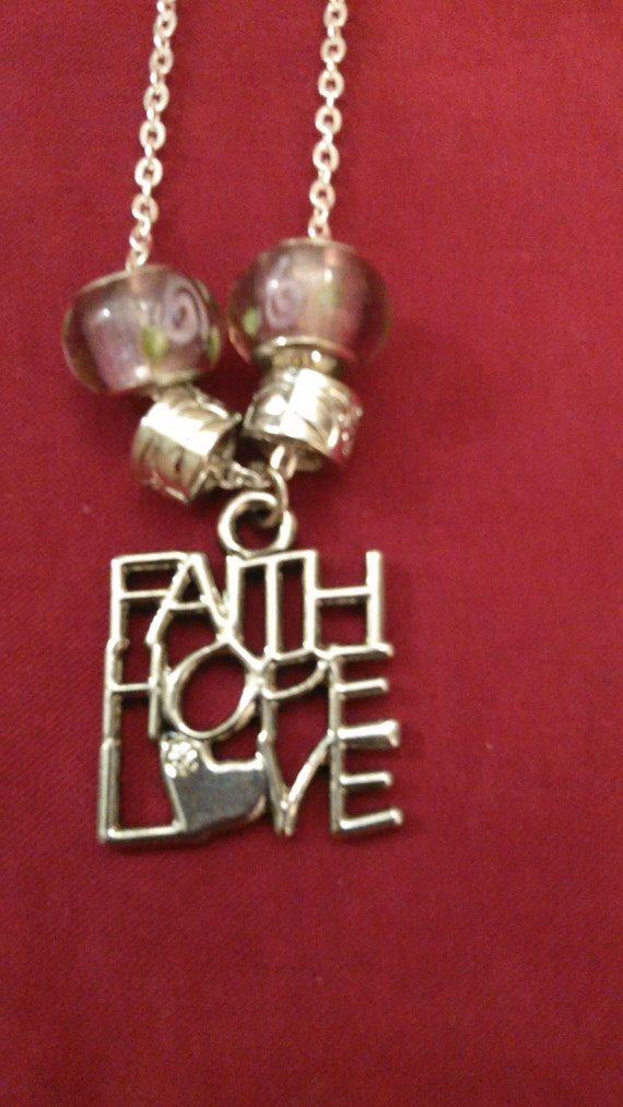 Silvertone faith hope love charm necklace by jensignsjewlery for Faith hope love jewelry