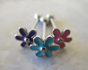 Adorable Purple Flower Tongue Ring Piercing