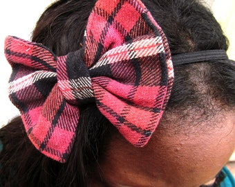 Bow, Hair Bow, Bows, Flannel Bows, Flannel Fabric, Red Bows, Hair Accessory, Accessories, Hair Bands, Headbands, HairBows, Girls Bows,