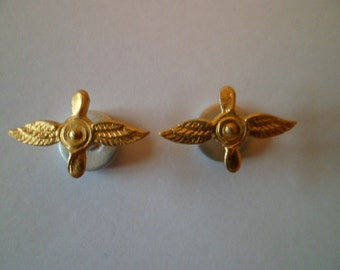 Aviation pin, badge for collar, vintage metal part of military uniform Air Force Soviet Army.