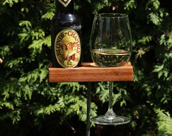 beer bottle wine glass holder, outdoor support, hardwood, available optional shelf and base, Birthday Gift, For Him, for Her, Wedding Gift