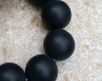 """Matte Onyx Beads - 18mm round Smooth Matte Black Onyx Beads, FULL 16"""" strand of beads (about 22 beads) G539"""