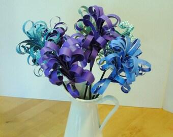 Paper Bouquet of Purple & Blue Hyacinth Flowers