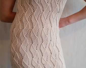 Hand knitted woman dress