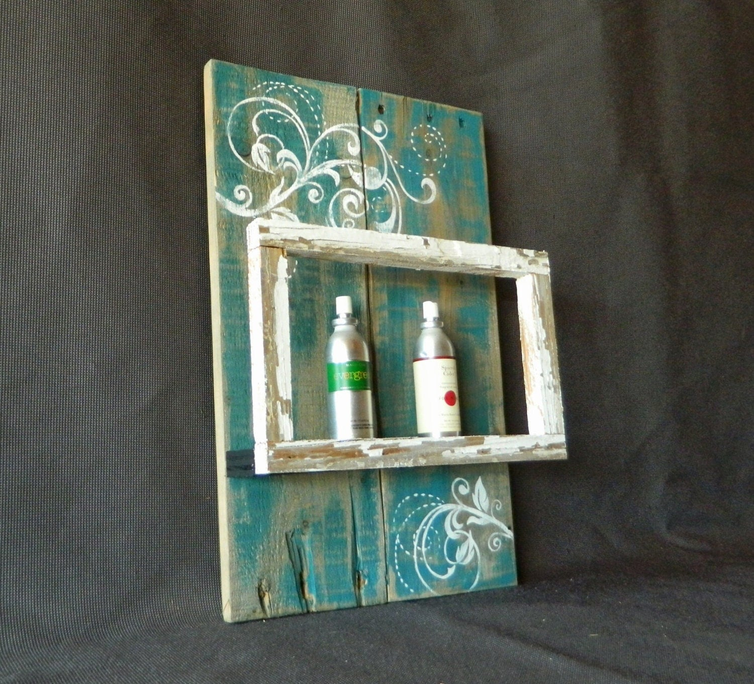 Reclaimed wood pallet art hand painted wall art shelf with for Hand painted walls