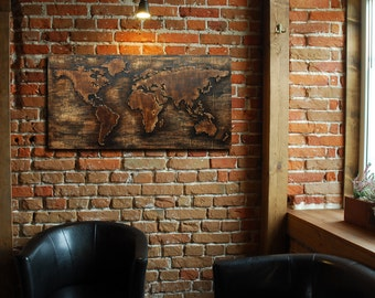 World Map 3D - a large, wooden, spatial