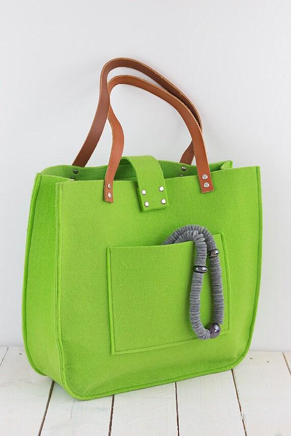 green felt tote bag felt tote big size for shopping. Black Bedroom Furniture Sets. Home Design Ideas