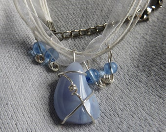 Blue Lace Agate on White Ribbon Necklace with Blue Glass Beads