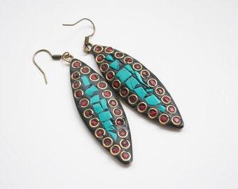 Vintage Tibetan Earrings, Turquoise and Coral Inlay Earrings, Dangle Earrings, Mosiac Earrings, Asian Earrings, Boho Earrings