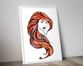 Woman outline red hair, Watercolor painting print, Instant download print