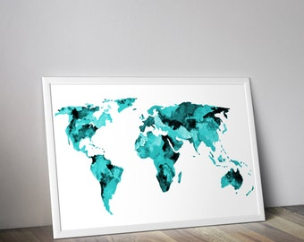 Teal World Map, Watercolor map, Travel Art,