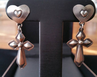 Silver Heart and Cross Dangle Earrings
