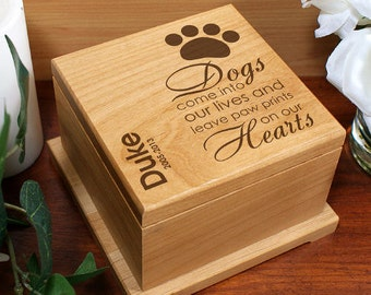 Personalized Pet Dog Cremation Urn Paw Memorial Wooden