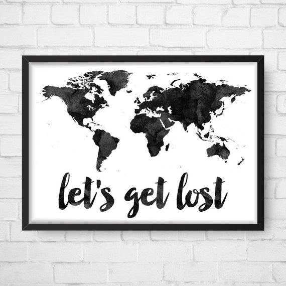 Watercolor world map lets get lost world map art watercolor world map lets get lost world map art travel quote print wanderlust world map world print printable world map nursery art sciox Gallery