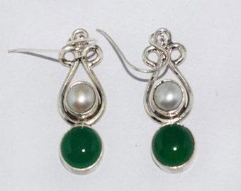Fresh Water Pearl and Green Onyx Hook Dangle Earrings 925 Sterling Silver Gemstone Earrings Silver Earrings Women Fashion Jewelry