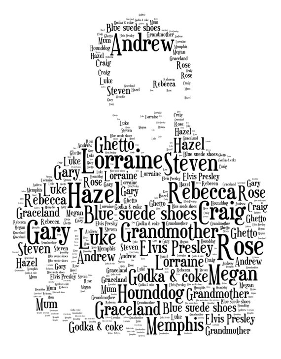 Personalised word art elvis presley print ideal for birthdays like this item pronofoot35fo Choice Image