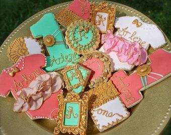vintage first birthday cookies