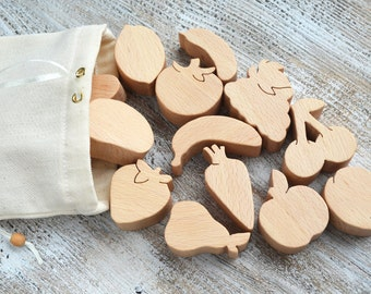 Wooden Play Food (16pcs) - Wooden Vegetables - Wooden Fruits - Eco Toys - Play Kitchen