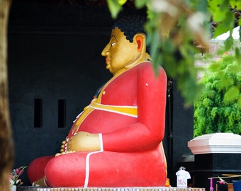 Red Buddha and red bicycle