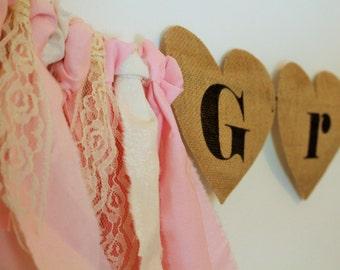 Burlap Heart Banner, Heart Banner, Heart Shaped Name Banner, Crib Banner, Burlap Hearts, Baby Girl Banner, Nursery Decor, Lace and hearts