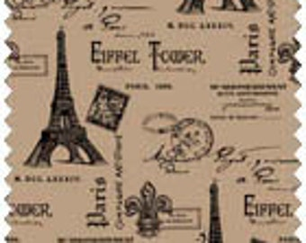 "Paris Eiffel Tower Burlap for crafting and decorating. 100% Jute. 47"" wide. 1 yard"
