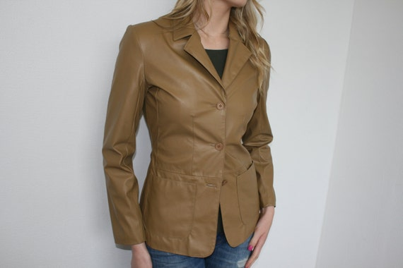 Light Brown Wom... Leather Jackets For Women Light Brown