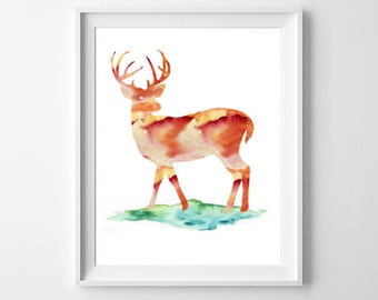 Deer Art Print, Watercolor Deer Art, Printable Instant Download, Wildlife Decor, Deer With Antlers