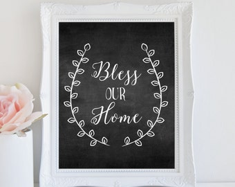 Bless Our Home, Chalkboard Art Print, Rustic Home Decor, Instant Download, Printable Art