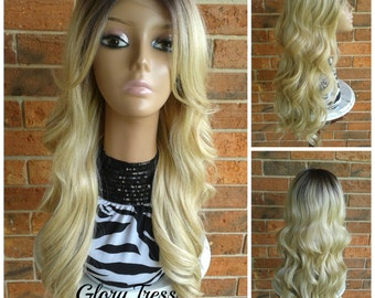 CLEARANCE // Long Body Wave Lace Front Wig, Dark Rooted Ombre Platinum Blonde Wig // MARVELOUS (Free Shipping)