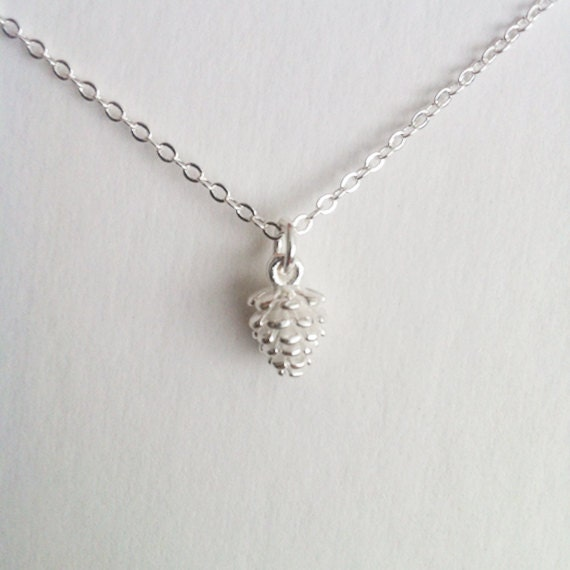 Mini Silver Pinecone Necklace Jewelry Charm Girl Sweet