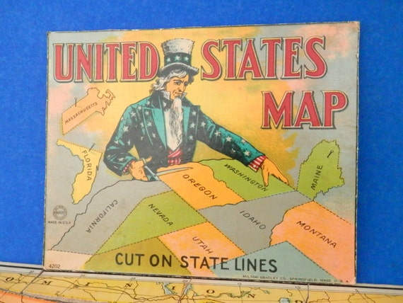 Bradley (IL) United States  City pictures : Vintage Milton Bradley Co. 2 Sided Puzzle Map of the United States ...