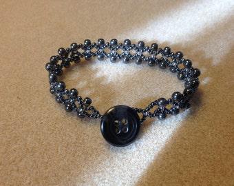 Metallic Grey netted look beaded bracelet