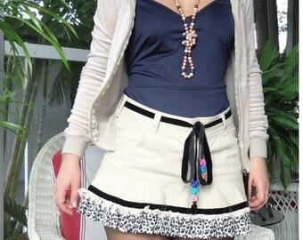 Denim skirt,short skirt,mini skirtladies skirt,womens skirt,hand made skirt,ruffle skirt,one of the kind
