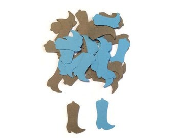 100 Blue and Brown Baby Cowboy Boots Confetti, Die Cut Boots, Cowboy birthday, Country and Western Party, Table Confetti, Country Shower