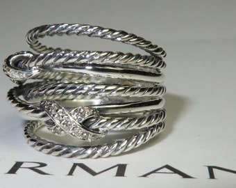 David yurman Double X Crossover Ring with Diamonds ( size 7 )