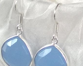 Light blue chalcedony, sterling silver drop earrings
