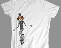 FOX in a SUIT on a Unicycle BIKE - fancy nerdy geeky silly fancy dapper funny tee