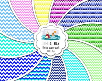"""CHEVRONS - Digital paper pack – Instant download - Scrapbooking Paper – Seamless - 12"""" x 12"""" - Personal &Commercial –Digital background"""