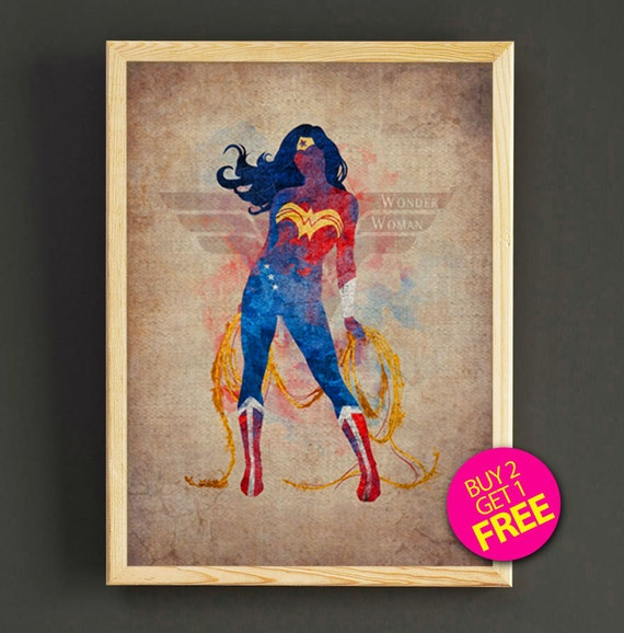 Wonder Woman Watercolor Art Print Justice League by Star2Go