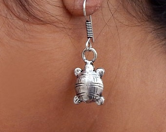 Tortoise Shape Sterling Silver Earrings - Best Gift