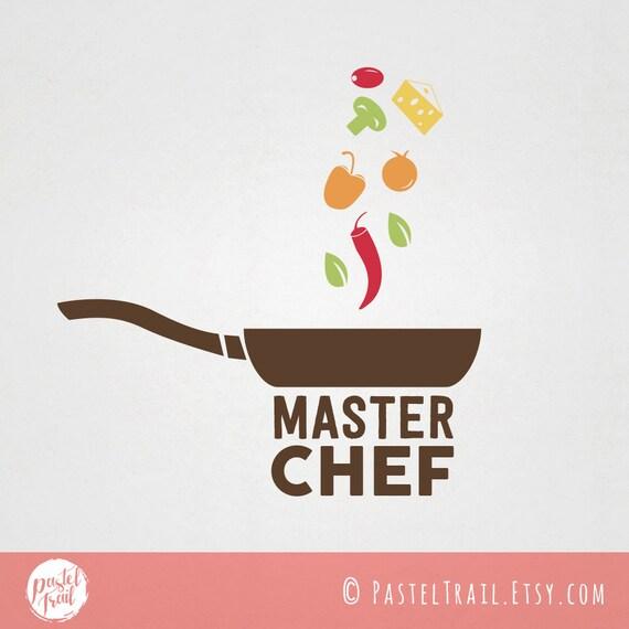 Custom premade food logo design master chef logo with pan for Cuisine logo